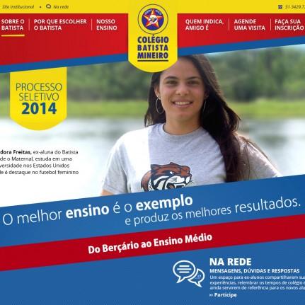 Aliás Comunicação desenvolve hotsite para o processo seletivo 2014 do Colégio Batista Mineiro.